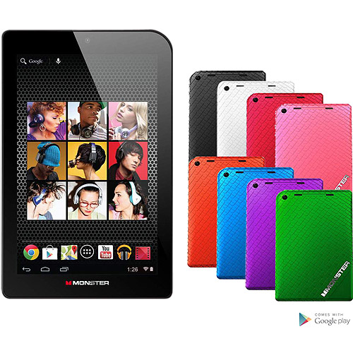 """Monster M7 7"""" Tablet 16GB Memory Dual Core, Candy Blueberry"""