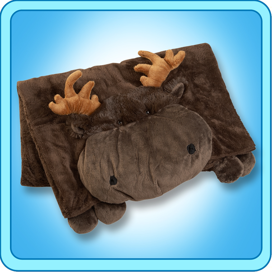 Authentic Pillow Pet Chocolate Moose Blanket Plush Toy Gift