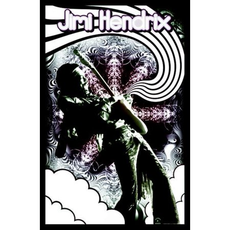 Psychedelic Rock Posters (Jimi Hendrix Guitar Solo Psychedelic Music Legend Blacklight Poster - 24x36 inch )