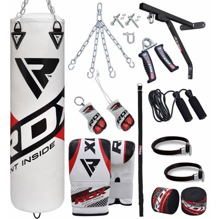 RDX 17PC Heavy Bag Kit Punching Bags Boxing Mitts 5FT With Chains White