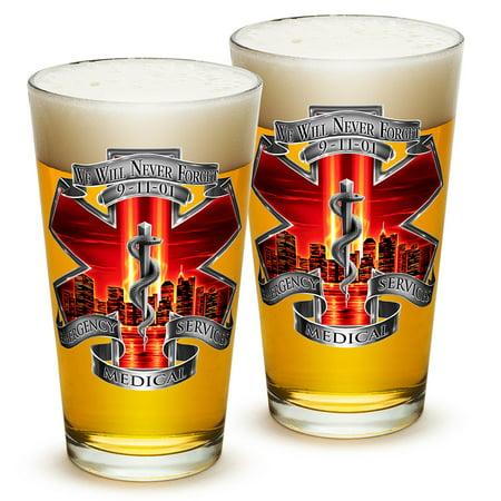 Pint Glasses – EMT Paramedic Gifts for Men or Women – EMT Beer Glassware – Tribute High Honor Red EMS Beer Glasses with Logo - Set of 2 (16 Oz)