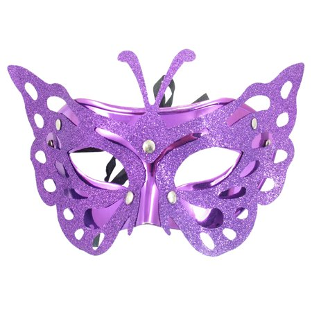 Unique Bargains Lady Cut Out Butterfly Style Purple Plastic Carnival Mask - Unique Masks