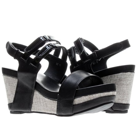 Slingback Cork Wedges - Antelope 967 Slingback Black Women's Wedge Sandals 967-BLACK