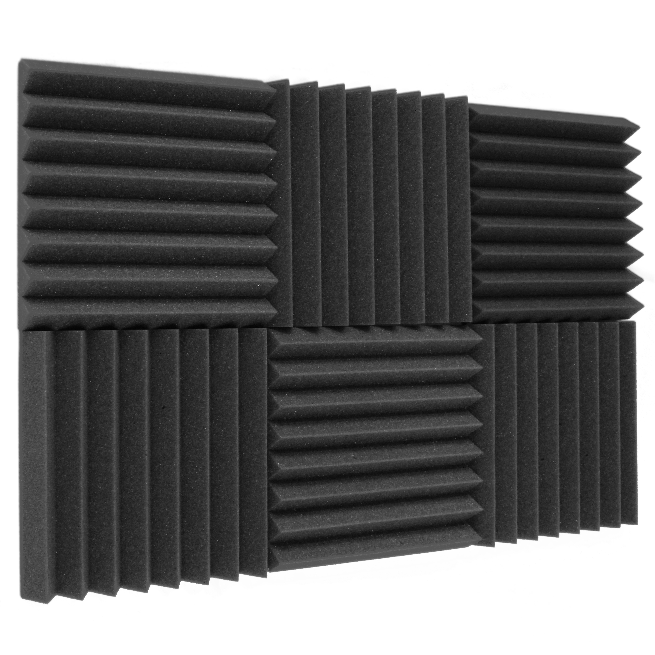 "6 Pack Acoustic Panels Studio Foam Wedges 2"" X 12"" X 12"", Charcoal"