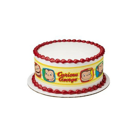 Curious George Funny Faces Edible Icing Image Cake Border Strips](Curious George Party Theme)