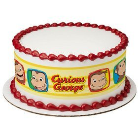 Curious George Funny Faces Edible Icing Image Cake Border Strips
