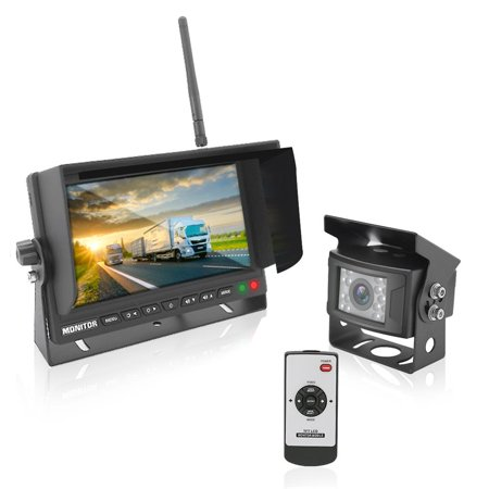 PYLE PLCMTR78WIR - 2.4Ghz Vehicle Camera & Video Monitor System with Wireless Video Transmission, Waterproof Rated Cam, Night Vision, 7'' -inch Display (for Bus, Truck, Trailer,