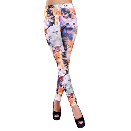 Simplicity Women Lady Punk Style Cat Print Skinny Legging, 3090_Cat - Cat Woman