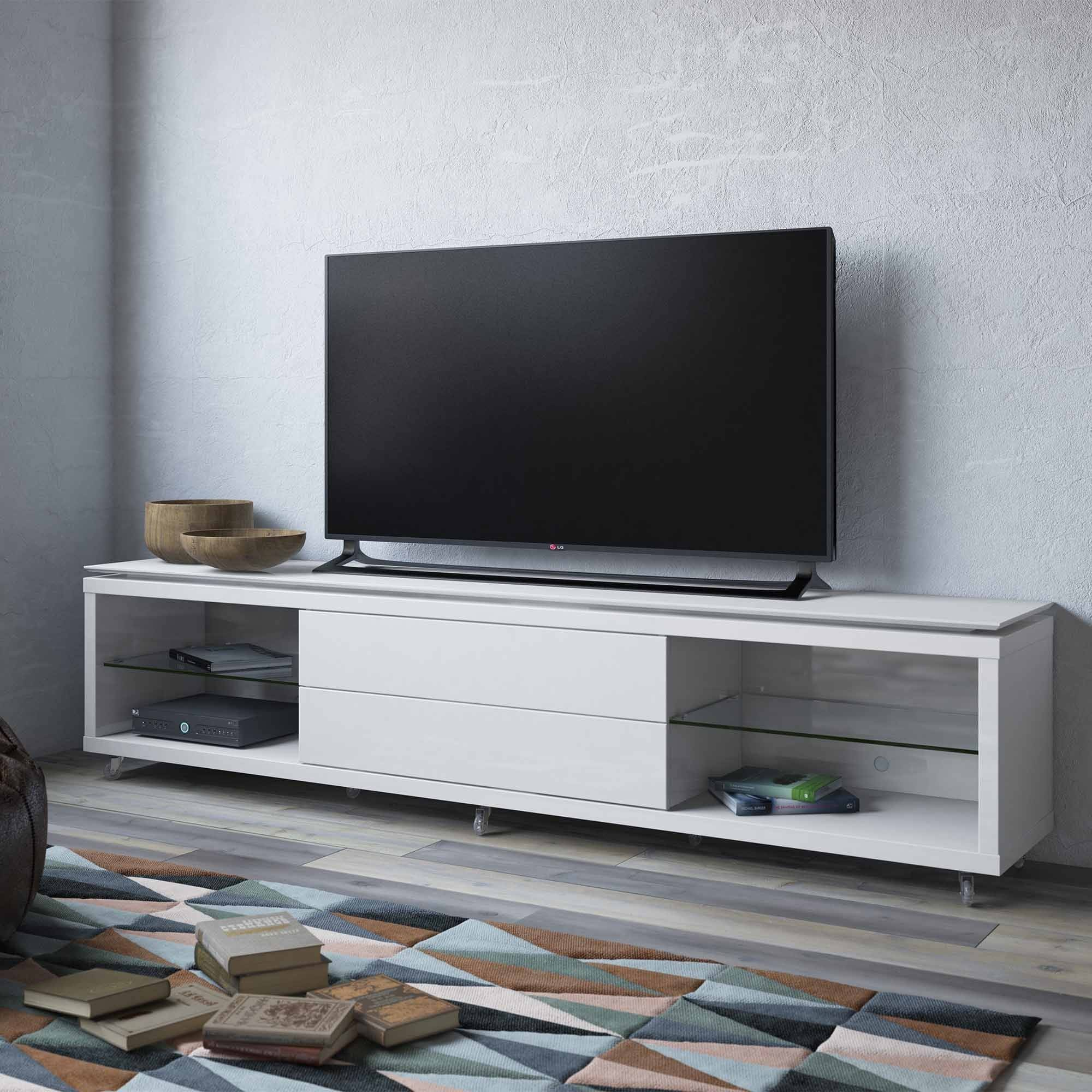 "Manhattan Comfort Lincoln TV Stand 2.2 with Silicon Casters for TVs up to 70"", Multiple Colors"