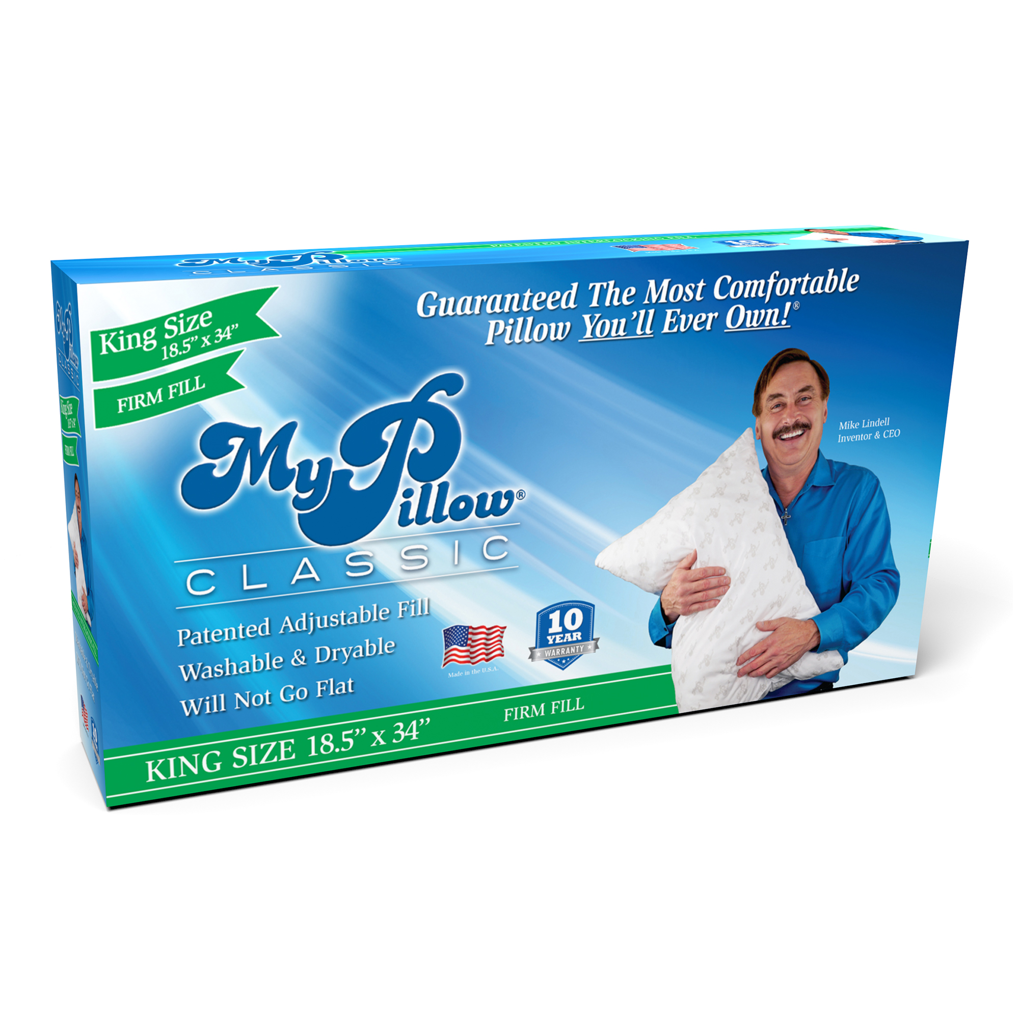 MyPillow Classic King Size Pillow, Firm Support