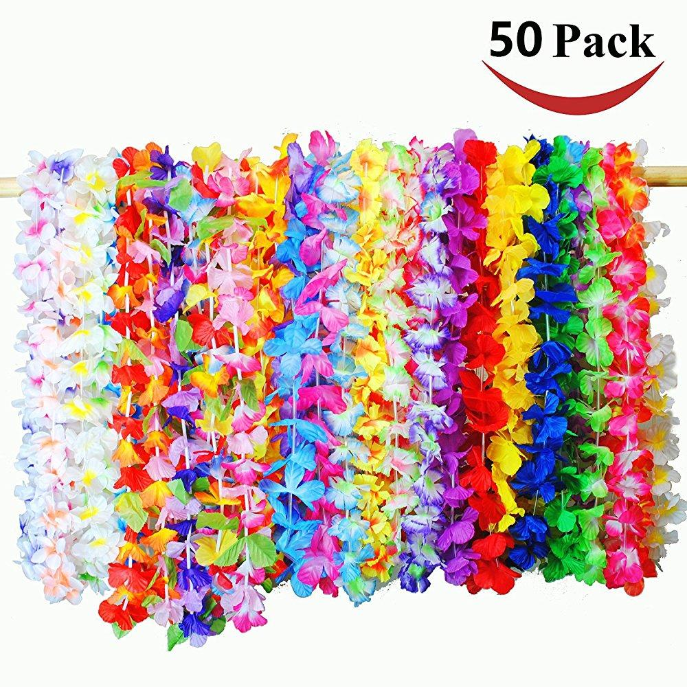 50pack tropical hawaiian luau lei styles flowers (50 ct) for party favors beach theme party supplies decorations ornaments ceremony