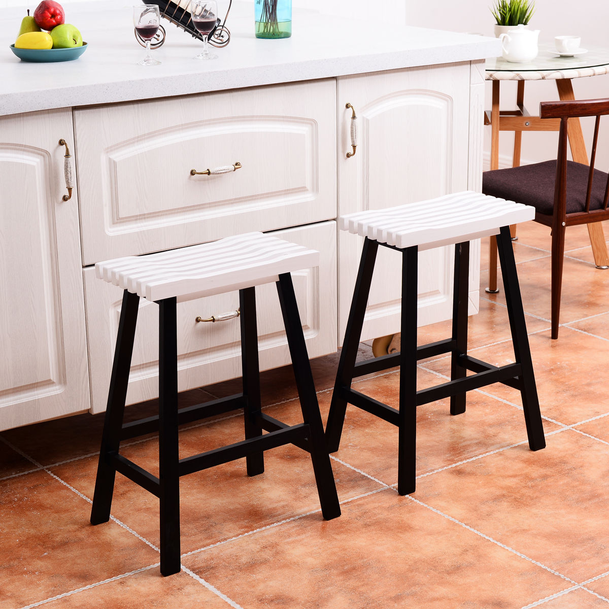 Costway Set of 2 Saddle Seat 24'' Bar Stools Wood Bistro Dining Kitchen Pub Chair White by Costway