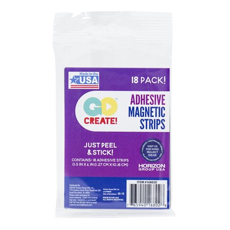 Go Create Peel & Stick Adhesive Magnetic Strips, 18 Count