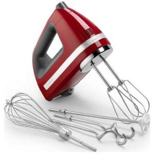 Equipped with a powerful yet quiet motor, this lightweight five-speed hand mixer features turbo-powered beaters and an electronic mixing sensor to efficiently whip cream, mix cake batters, beat eggs, and more.