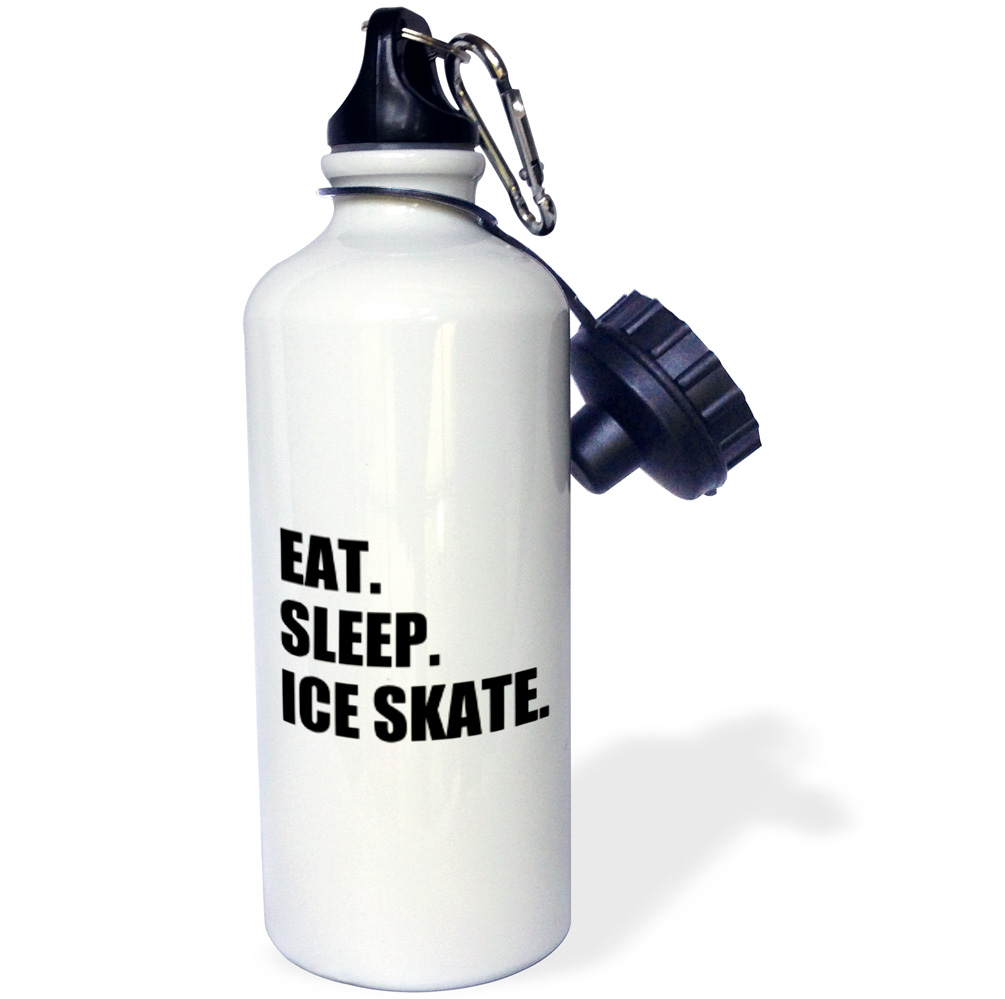 3dRose Eat Sleep Ice skate skater gifts for skating enthusiast black text, Sports Water Bottle, 21oz by 3dRose