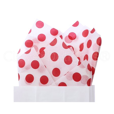 - CleverDelights Red Polka Dot Premium Tissue Paper - 100 Sheets - 20