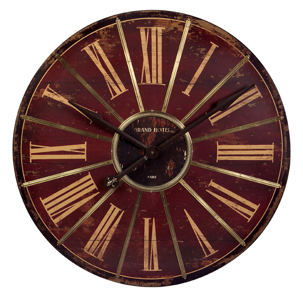 "30"" Vintage-Style Red & Gold Roman Numeral Wall Clock"