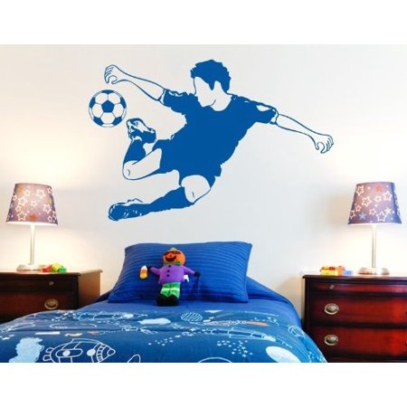 Soccer Wall (Soccer Star Wall Decal - Wall Sticker, Vinyl Wall Art, Home Decor, Wall Mural - 3721 - Gold, 47in x 31in )