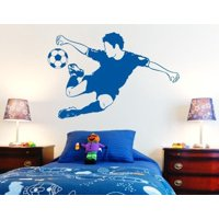 Soccer Star Wall Decal - Wall Sticker, Vinyl Wall Art, Home Decor, Wall Mural - 3721 - Gold, 47in x 31in
