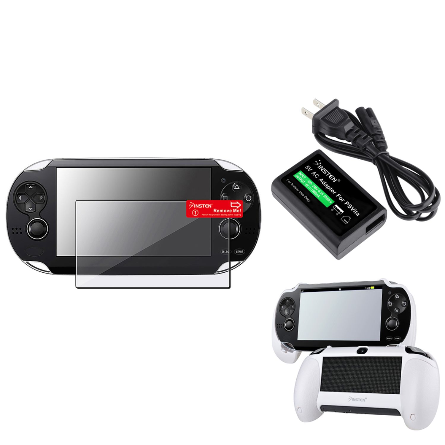Insten White Hand Grip+Clear Screen Protector+ac Adapter US Plug For Sony PS Vita PSV