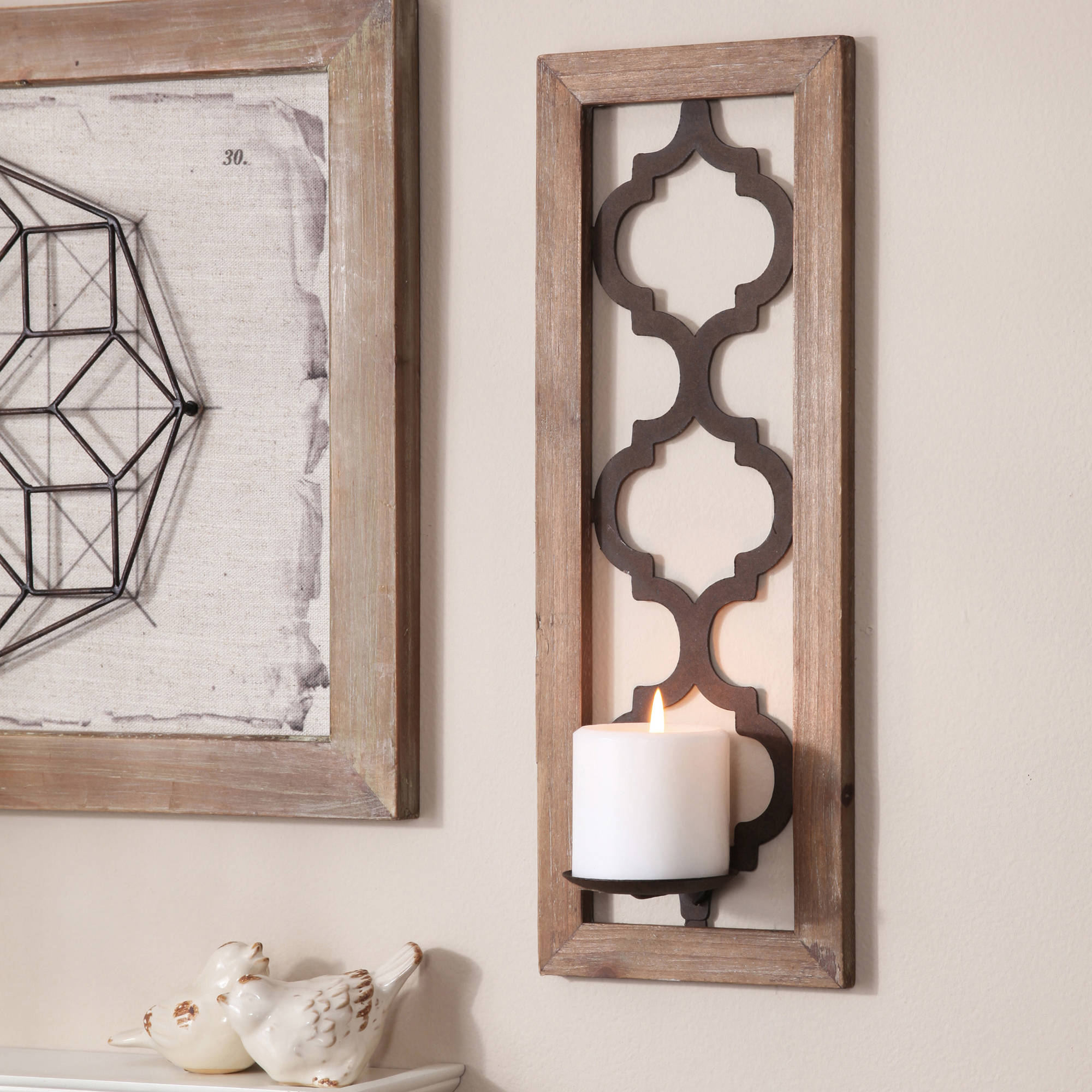 Better Homes and Gardens Quatrefoil Wall Sconce, Bronze
