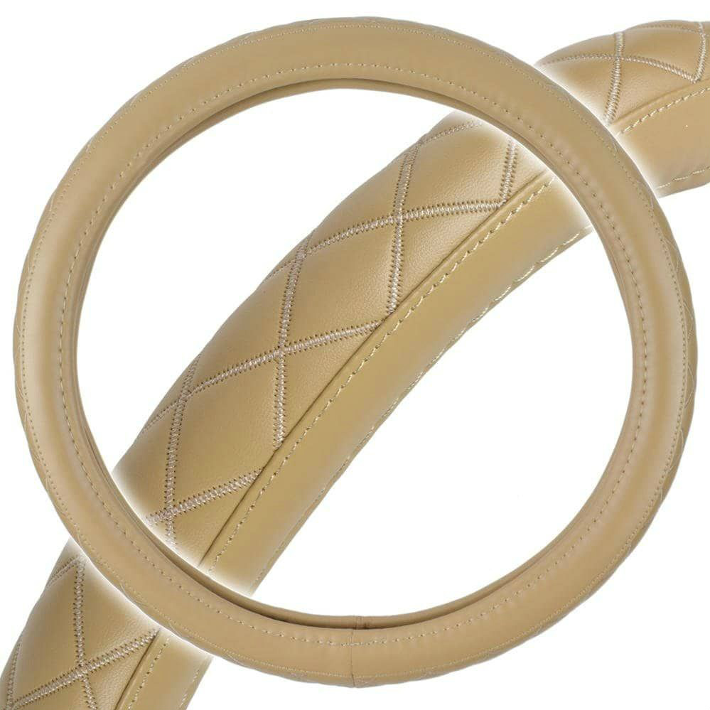 Diamond Series Synthetic Leather Odorless BPA free Steering Wheel Cover for TOYOTA HIGHLANDER Beige, Tan