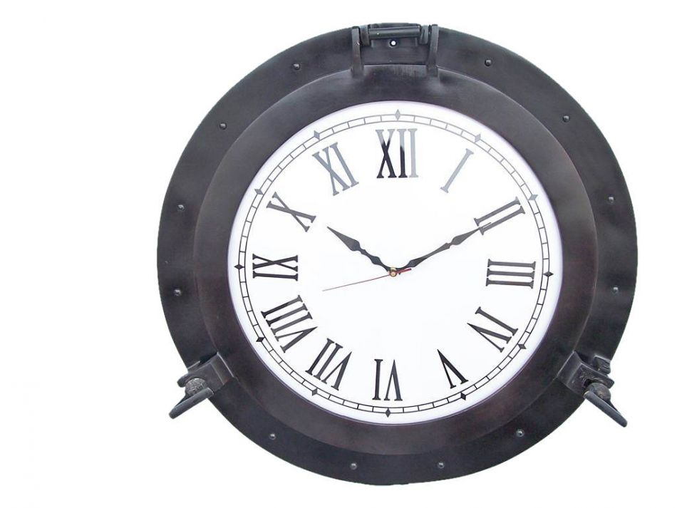 """Oil Rubbed Bronze Deluxe Class Porthole Clock 24"""" Nautical Wall Clock Beach Decor by Handcrafted Nautical Decor"""