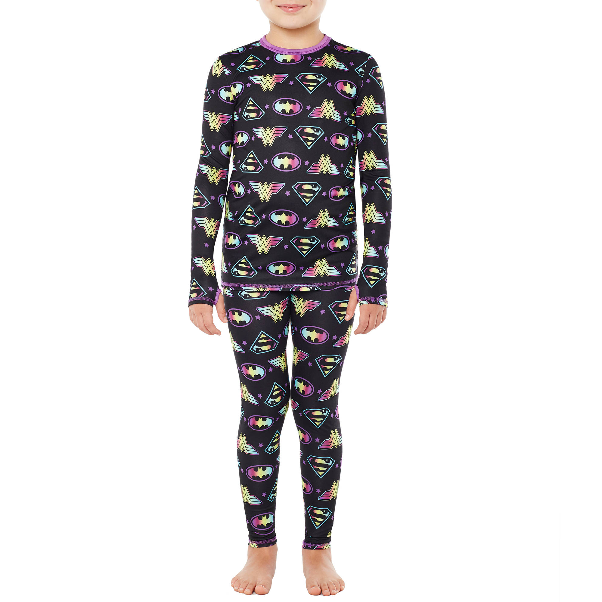 Climateright By Cuddl Duds Overall Printed Girls Licensed Poly Spandex Thermal Set with Inseam Thumbholes for Easy Layering