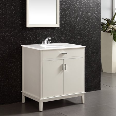 30 Inch Maple Top - WyndenHall  Oxford 30 inch Contemporary Bath Vanity in Soft White with White Engineered Quartz Marble Top