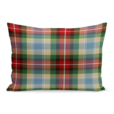 ECCOT Abstract Tartan Red Blue Green Black Camel Beige Pillowcase Pillow Cover Cushion Case 20x30 inch