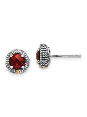 b49d70465 Product Image Shey Couture 925 Sterling Silver with Gold-Tone Accent Garnet Post  Stud Earrings, 7