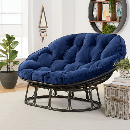 Better Homes & Gardens Papasan Bench with Cushion, Navy ()