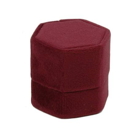 DIY Wedding Koyal Wholesale Velvet Ring Box, Burgundy, Hexagon Vintage Wedding Ceremony Ring Box with Detachable Lid, 2 Piece Engagement Ring Box Holder, Modern Proposal Idea, Slim Ring Box Display ()