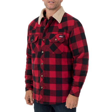 Men's Buffalo Twill Shirt Jacket with Sherpa Collar