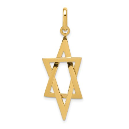 14k Yellow Gold Elongated Jewish Jewelry Star Of David Pendant Charm Necklace Religious Judaica For Women