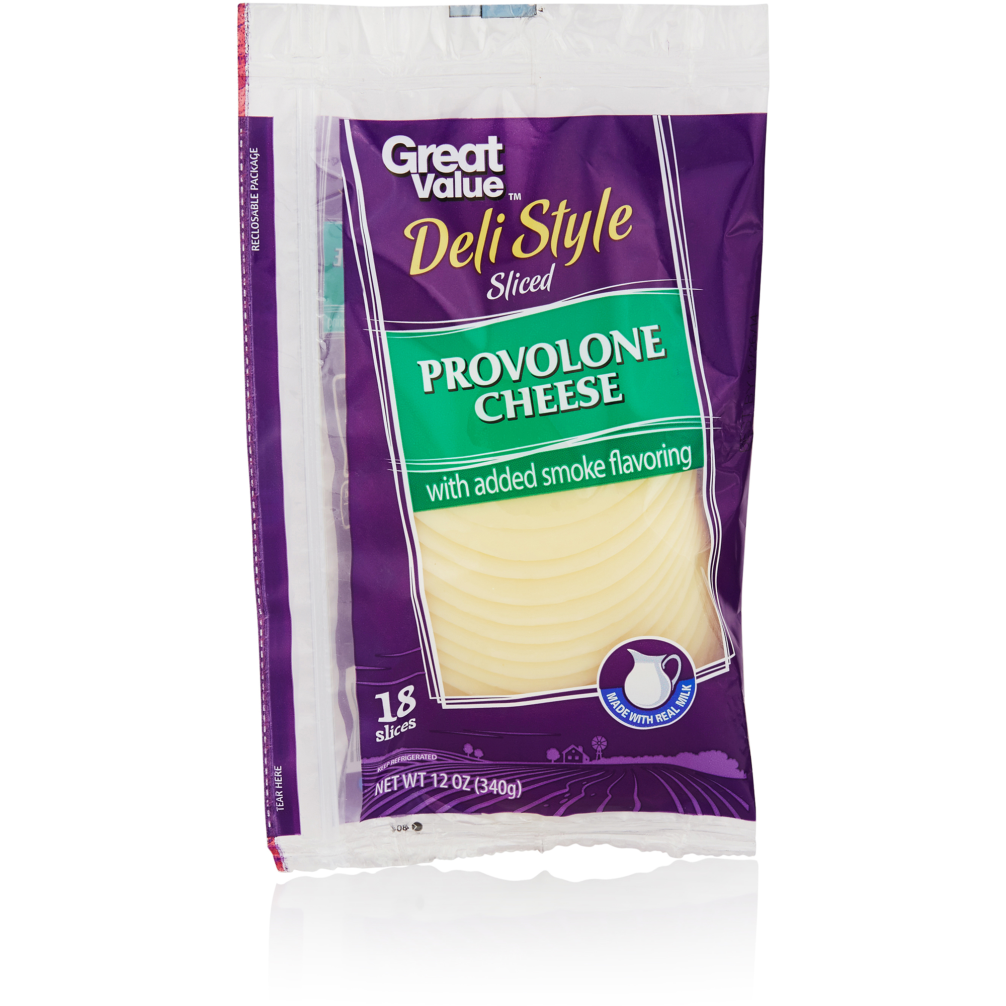 Great Value Provolone Cheese Slices, 18ct