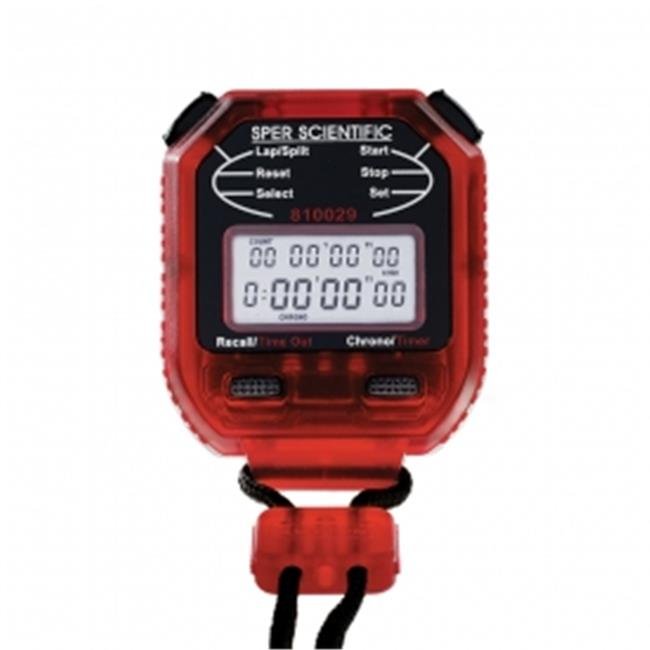 Sper Scientific 810029R 8 Memory Stopwatch Digital Count Up & Countdown Timer and Stopwatch Counts