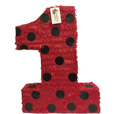 APINATA4U Large Number One Pinata Red Color with Black Polka Dots](Number One Pinata)