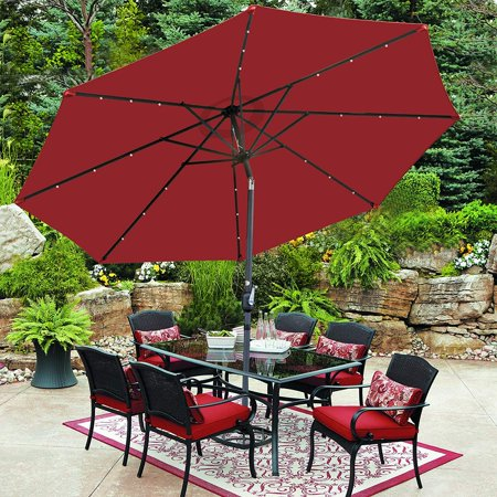 Zeny 10 ft Patio Umbrella 24 LED Solar Power, with Tilt Adjustment and Crank Lift System, Perfect for Patio, Garden, Backyard, Deck, Poolside, and more (Burgundy) ()