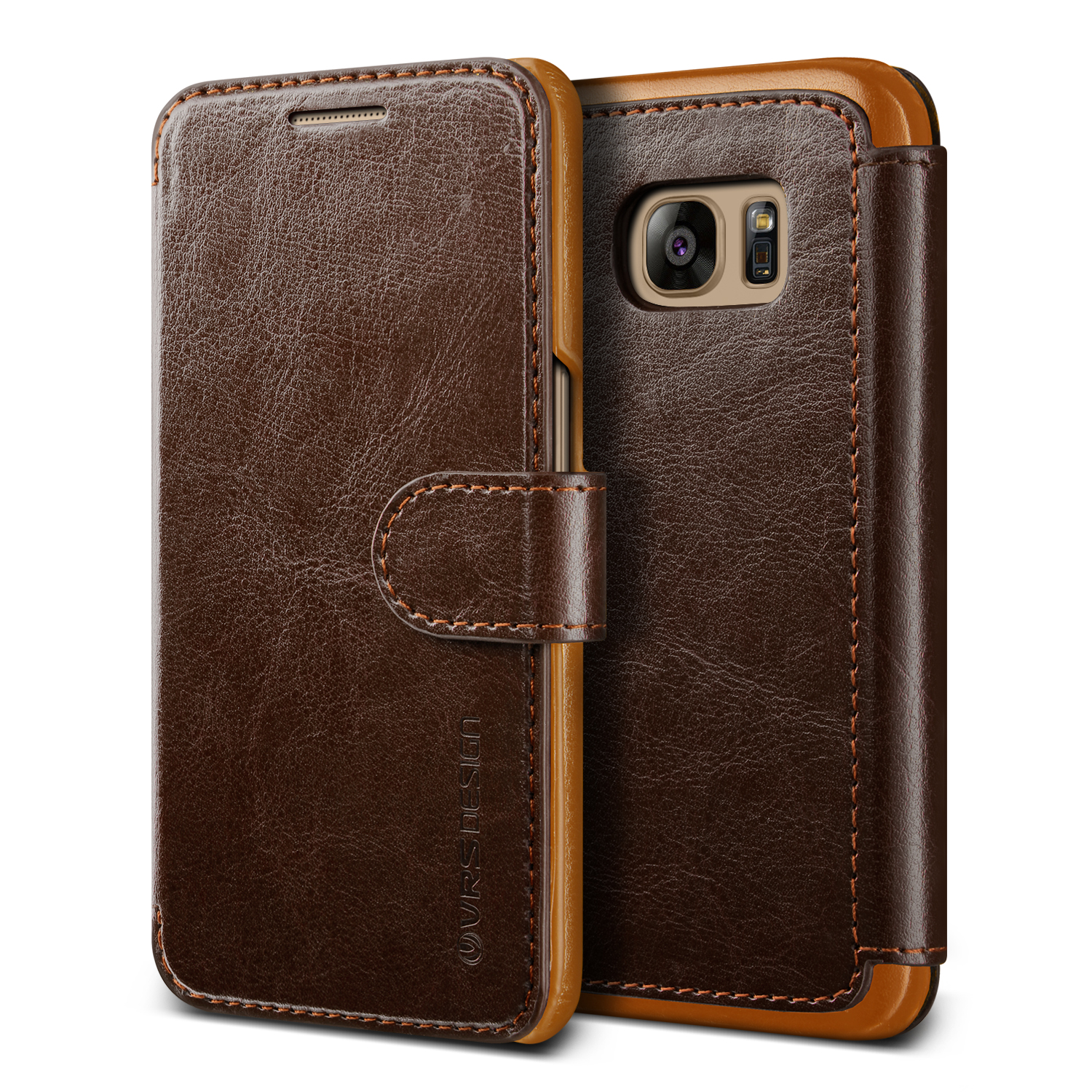 Samsung Galaxy S7 Case Cover | Premium PU Leather Wallet with Card Slots | VRS Design Layered Dandy for Samsung Galaxy S7