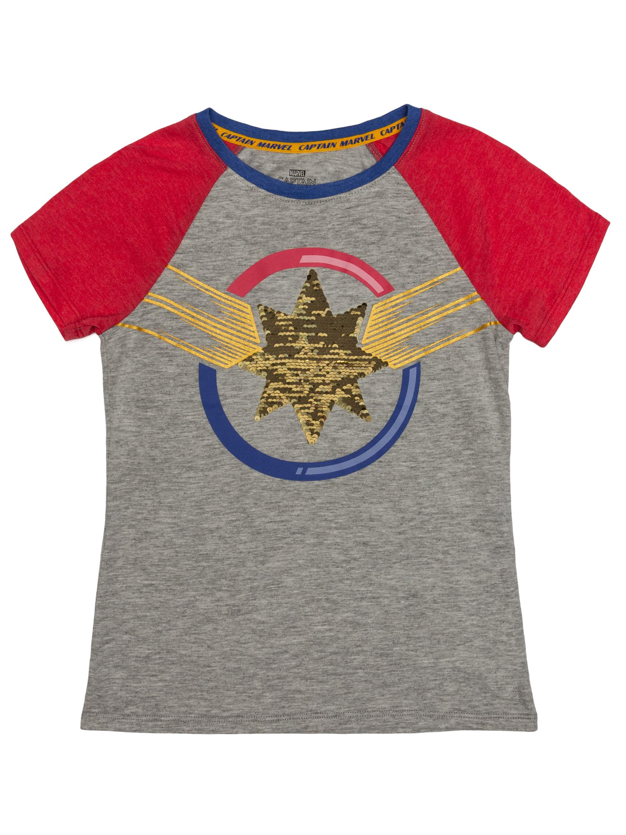 9cd211217d Reversible Flip Sequin Captain Marvel Logo Graphic Raglan T-Shirt (Little  Girls & Big Girls)