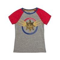 Marvel Captain Marvel Reversible Flip Sequin Logo Graphic Raglan T-Shirt (Little Girls & Big Girls)