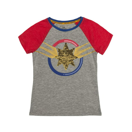 Reversible Flip Sequin Captain Marvel Logo Graphic Raglan T-Shirt (Little Girls & Big Girls) - Captain America Girls