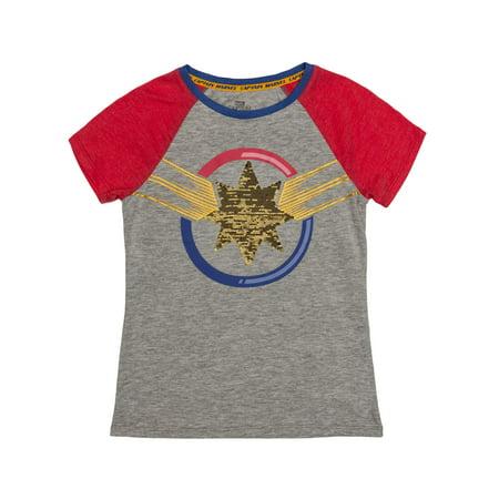 Reversible Flip Sequin Captain Marvel Logo Graphic Raglan T-Shirt (Little Girls & Big Girls)