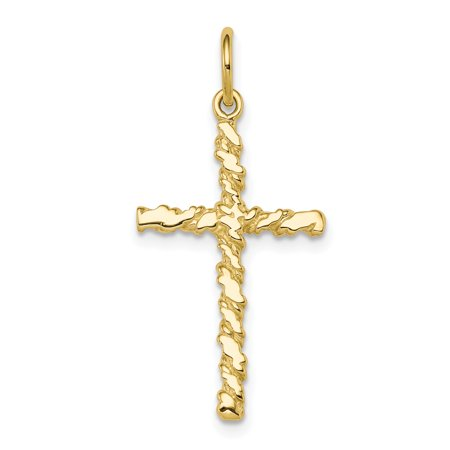 10k Yellow Gold Nugget Cross Religious Pendant Charm Necklace Latin Gifts For Women For -