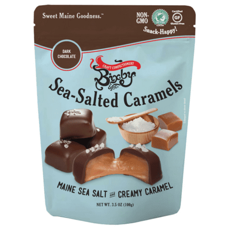 Bixby Dark Chocolate Sea Salted Caramels, 3.5 Ounce, Made in Maine, Gluten