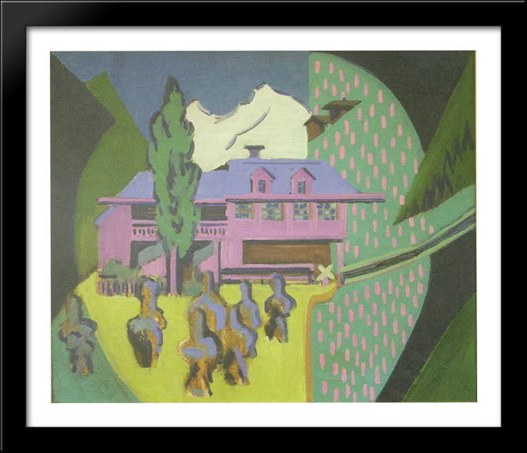 Violett House infront of a Snowy Mountain 34x28 Large Black Wood Framed Print Art by Ernst Ludwig Kirchner by FrameToWall