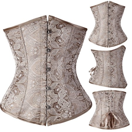 SAYFUT Women's Vintage Jacquard With Pattern Lace Boned Underbust Corset Busiter Top Bodice