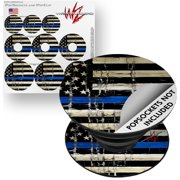 Decal Style Vinyl Skin Wrap 3 Pack for PopSockets Painted Faded Cracked Blue Line Stripe USA American Flag (POPSOCKET NOT INCLUDED) by WraptorSkinz
