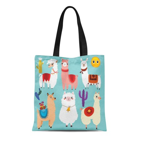 LADDKE Canvas Tote Bag Lama of Cute Llamas 6 Cartoon Characters Alpaca Abstract Reusable Shoulder Grocery Shopping Bags Handbag (Alpaca Bags)
